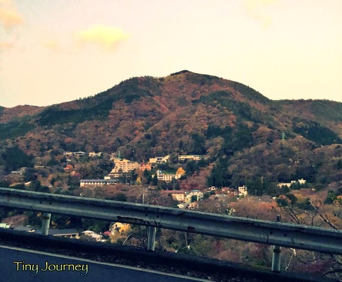 ガードレールの向こう側に見える山と集落