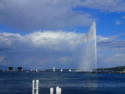 ジュネーブ湖の噴水とレインボー