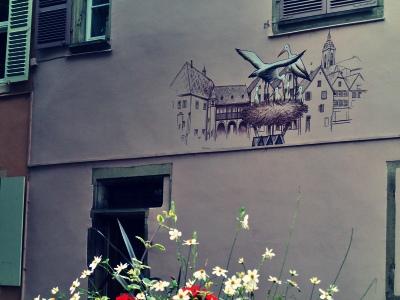 建物の壁に描かれたコウノトリの親子と巣の絵