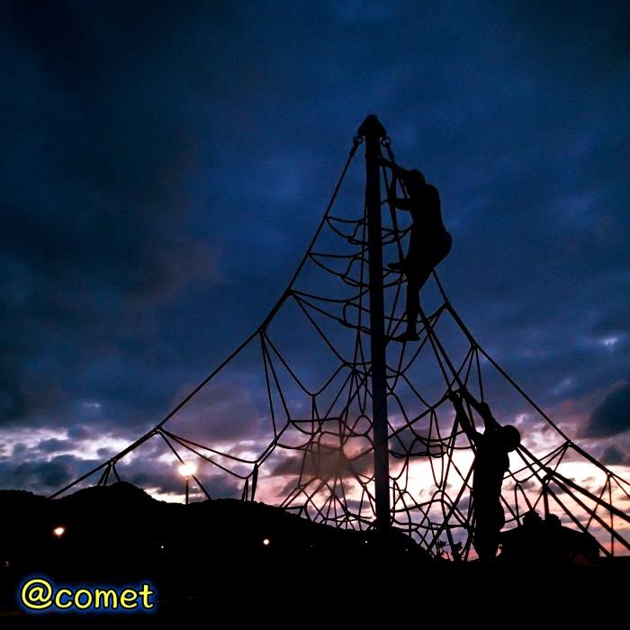宵闇の中、ロープアスレチックによじ登る二人の人物