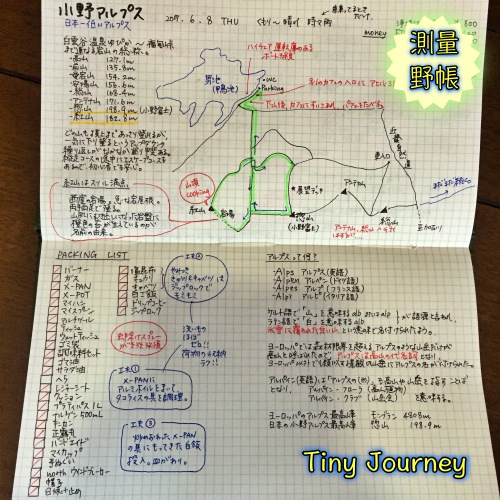 小野アルプスの情報とハイキングの記録を纏めた測量野帳