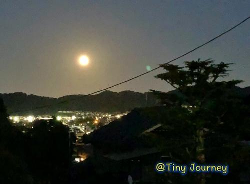 月明かりと街の灯火