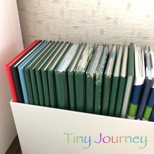 無印良品のPPボックスに収納された歴戦の測量野帳たち