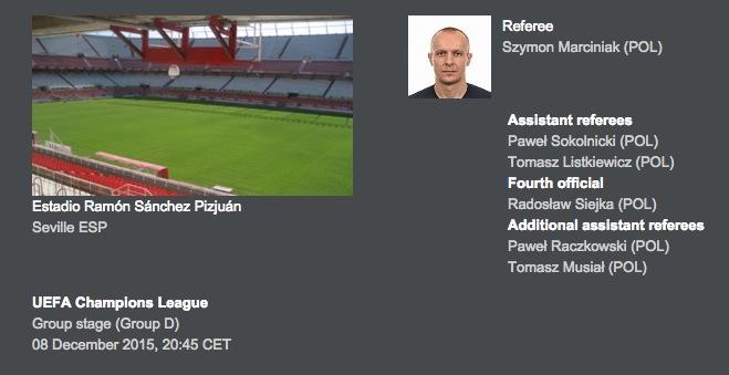 画像:UEFAが発表した第6節の審判団
