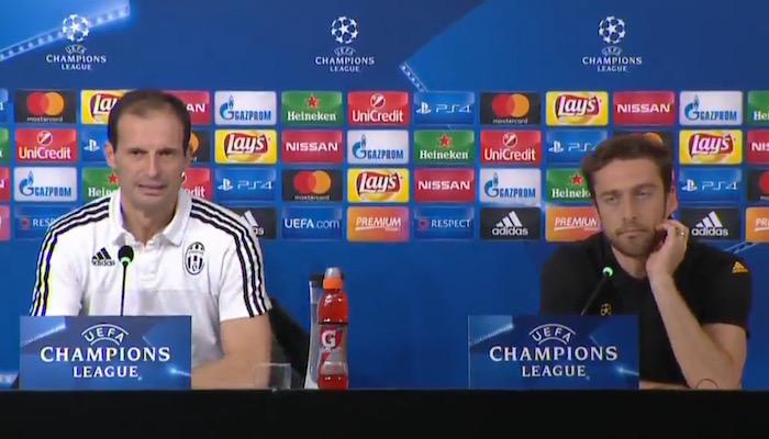 画像:前日会見に出席したアッレグリ監督とマルキージオ選手