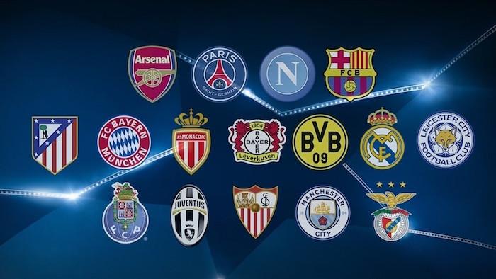 画像:2016/17 UEFA CL 決勝ラウンド進出クラブ