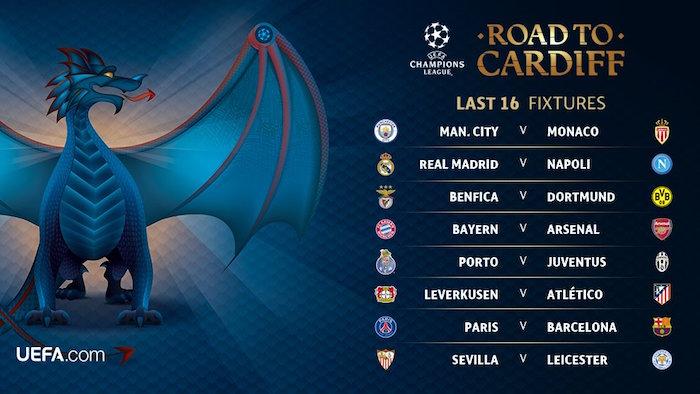 画像:2016/17 UEFA CL Round-16 Draw