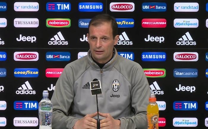 画像:コッパ・イタリア準決勝ナポリ戦に向けた前日会見を行ったアッレグリ監督