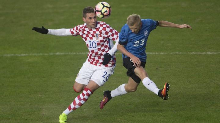 画像:エストニアとの親善試合で負傷したピアツァ