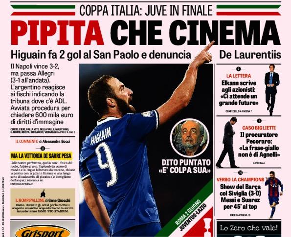 画像:ガゼッタ紙もコッパ・イタリア準決勝翌日に一面で報じている