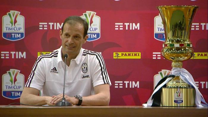 画像:コッパ・イタリア決勝の前日会見に出席したアッレグリ監督