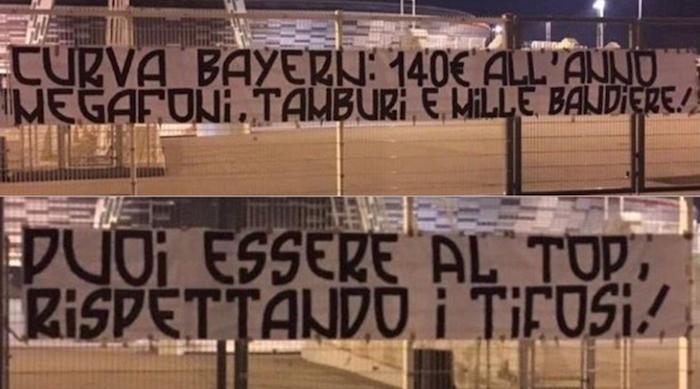 画像:ユベントス・スタジアム前に張り出されたバナー