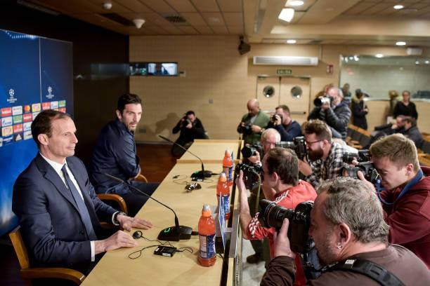 画像:レアル戦の前日会見に出席したアッレグリ監督とブッフォン選手