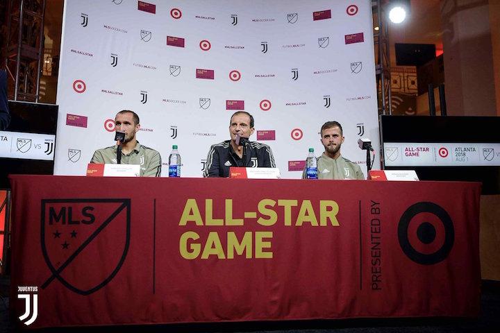 画像:MLS オールスター戦を前に会見を行うアッレグリ監督ら