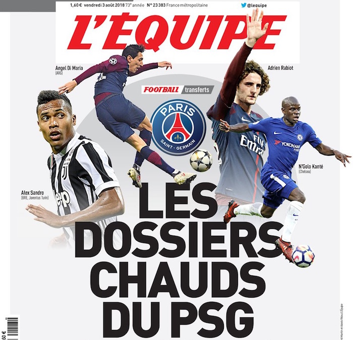 画像:PSGの補強方針を一面で伝えるレキップ紙(フランス)