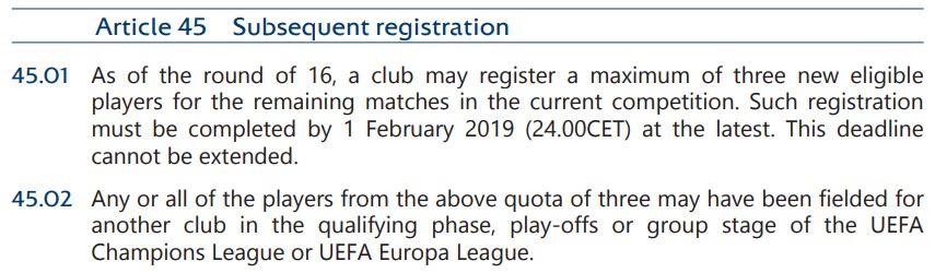 画像:決勝ラウンドでの選手登録規定(UEFA CL, 2018-21)
