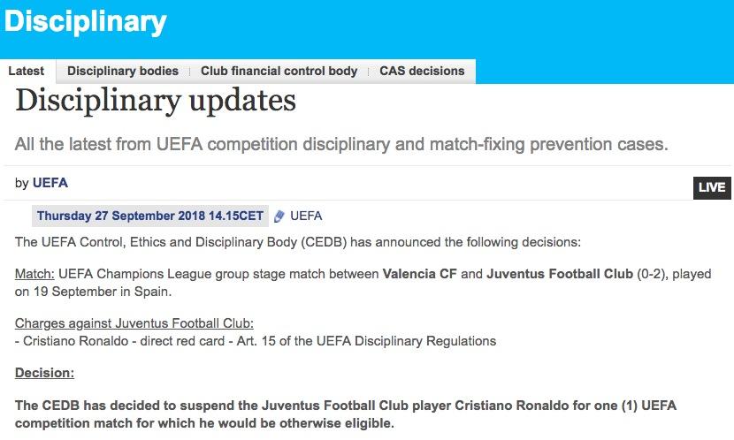 画像:UEFA 規律委員会の裁定