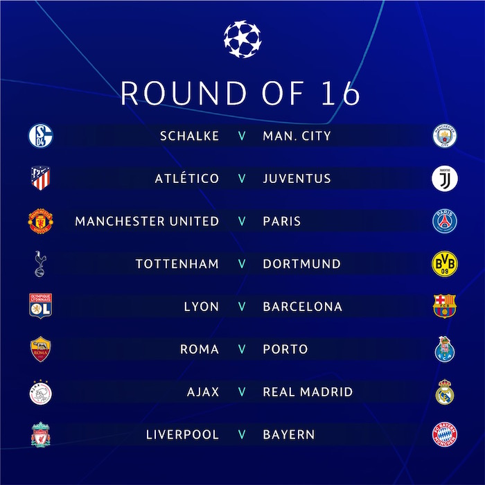 画像:2018/19 UEFA Champions League - Round 16 Draw