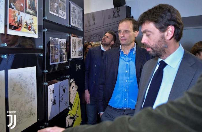 画像:ミュージアムを訪れたアニェッリ会長やアッレグリ監督