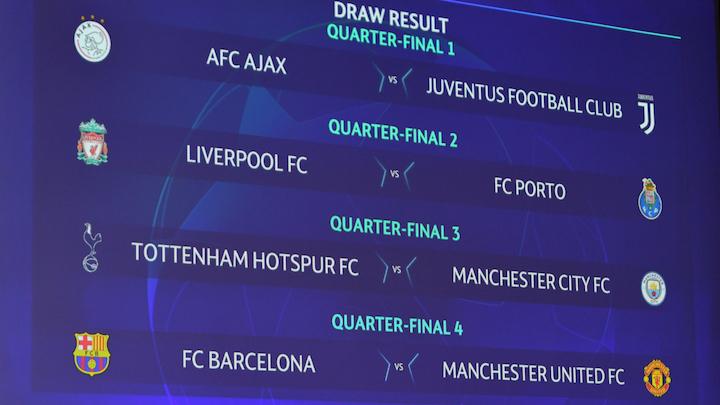 画像:2018/19 UEFA CL 準々決勝の組み合わせ