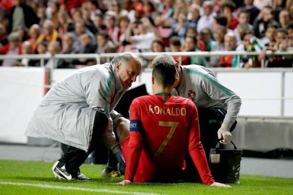 画像:ポルトガル代表で負傷したロナウド