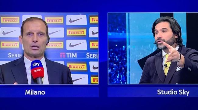 画像:イタリア・ダービー後に論争を行ったアッレグリ監督とアダーニ氏