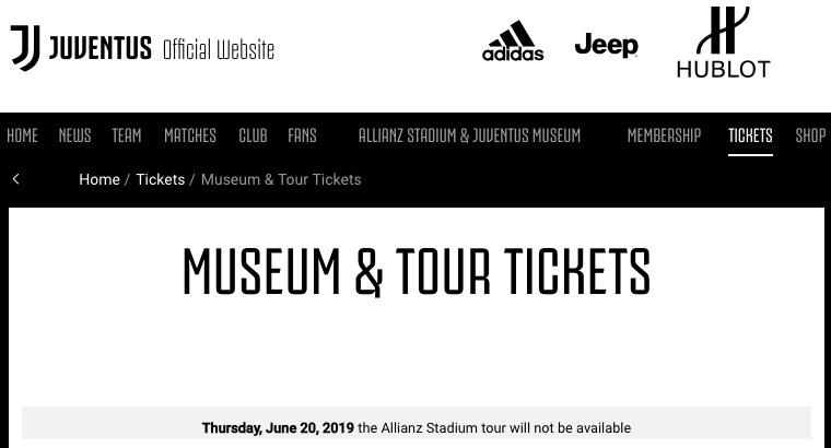 画像:スタジアムツアーの不実施を伝えるユベントス公式サイト