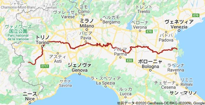 画像:イタリア北部の位置関係