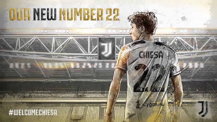 画像:背番号22の着用が発表されたキエーザ