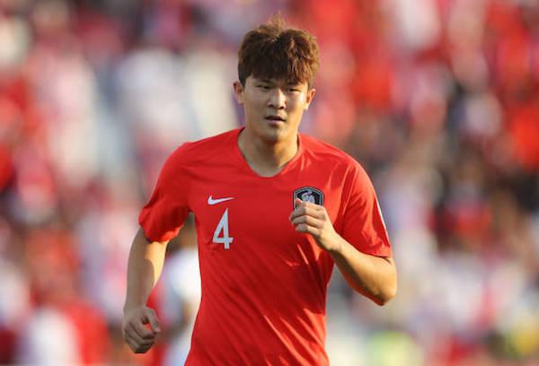 画像:韓国代表でプレーするキム・ミンジェ