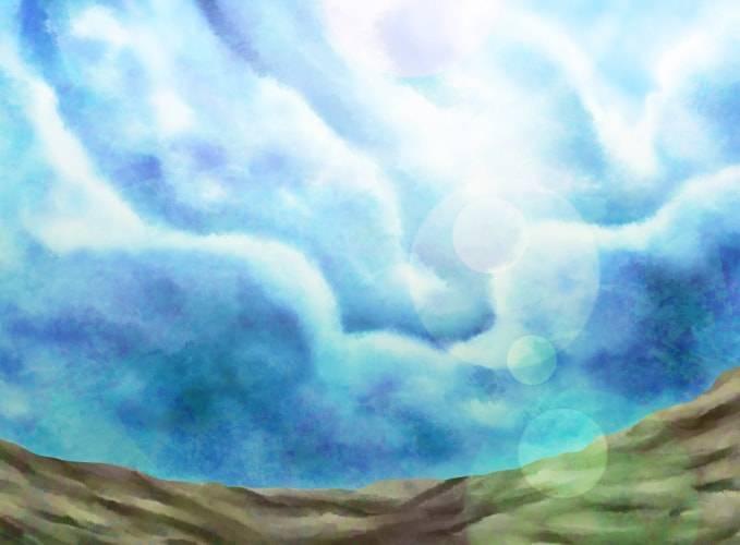 制作中の夏イラスト_厚塗りで雲と太陽