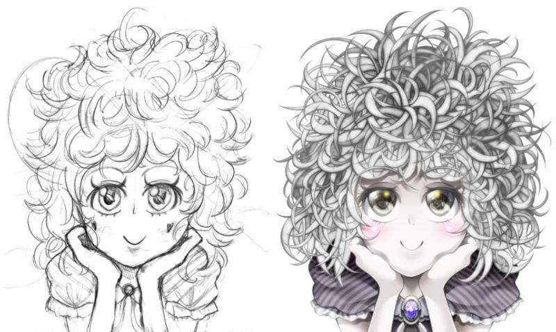 キャラクターラフと塗り終えた後の比較
