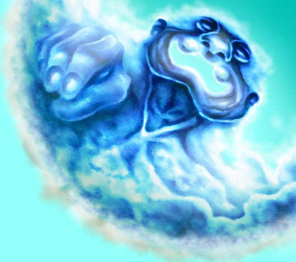 雲の神様を厚塗りで塗り終えた段階
