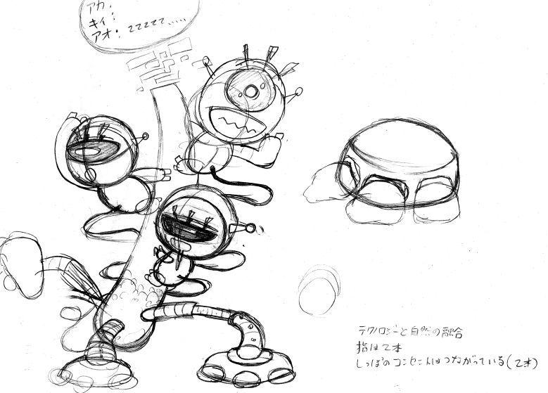 信号機キャラクターのラフスケッチ