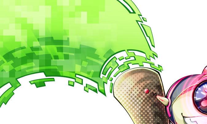 本体の先端から放出される緑色のピクセル状のエネルギー