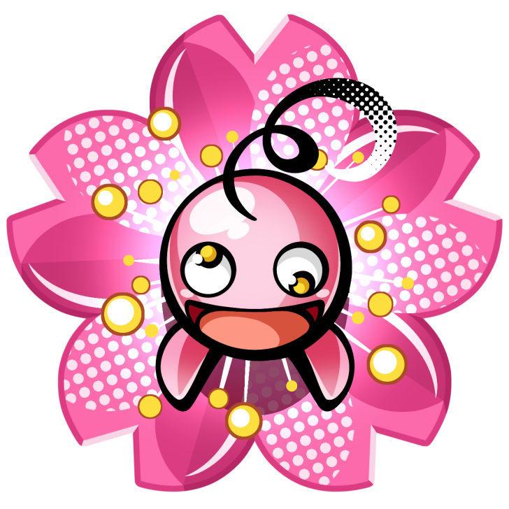 春イラスト 桜の花びらから顔を出すナムナムくん