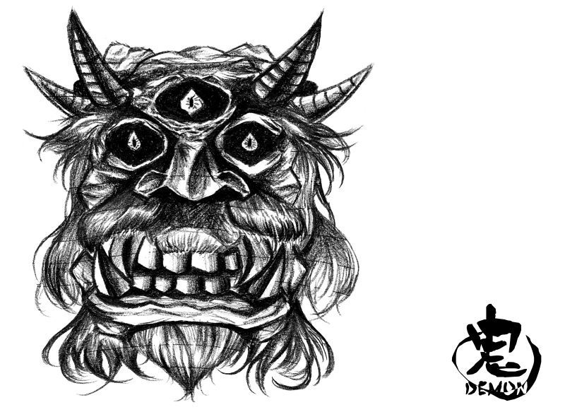 シャーペンで描き込んだ鬼の頭の落書き
