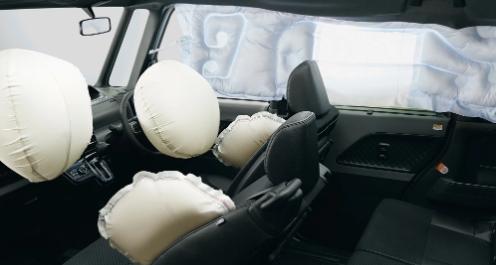 SRSエアバッグ  6つのエアバッグにより前からの強い衝撃時に、乗員の頭部、胸部への重大な傷害を軽減するだけでなく、車両側方からの衝撃も緩和します。