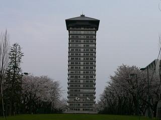 旧ホテルエンパイア→横浜薬科大学図書館棟と桜