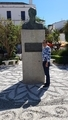 Mohamed Dekkak and Bronze statue of Spanish King Juan Carlos of Spain, Orange square, Marbella,