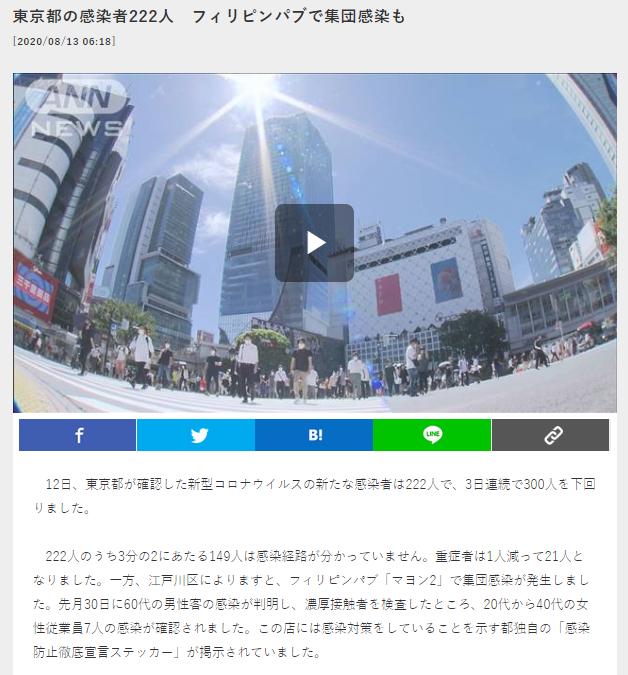 東京の感染者222人 フィリピンパブで集団感染も