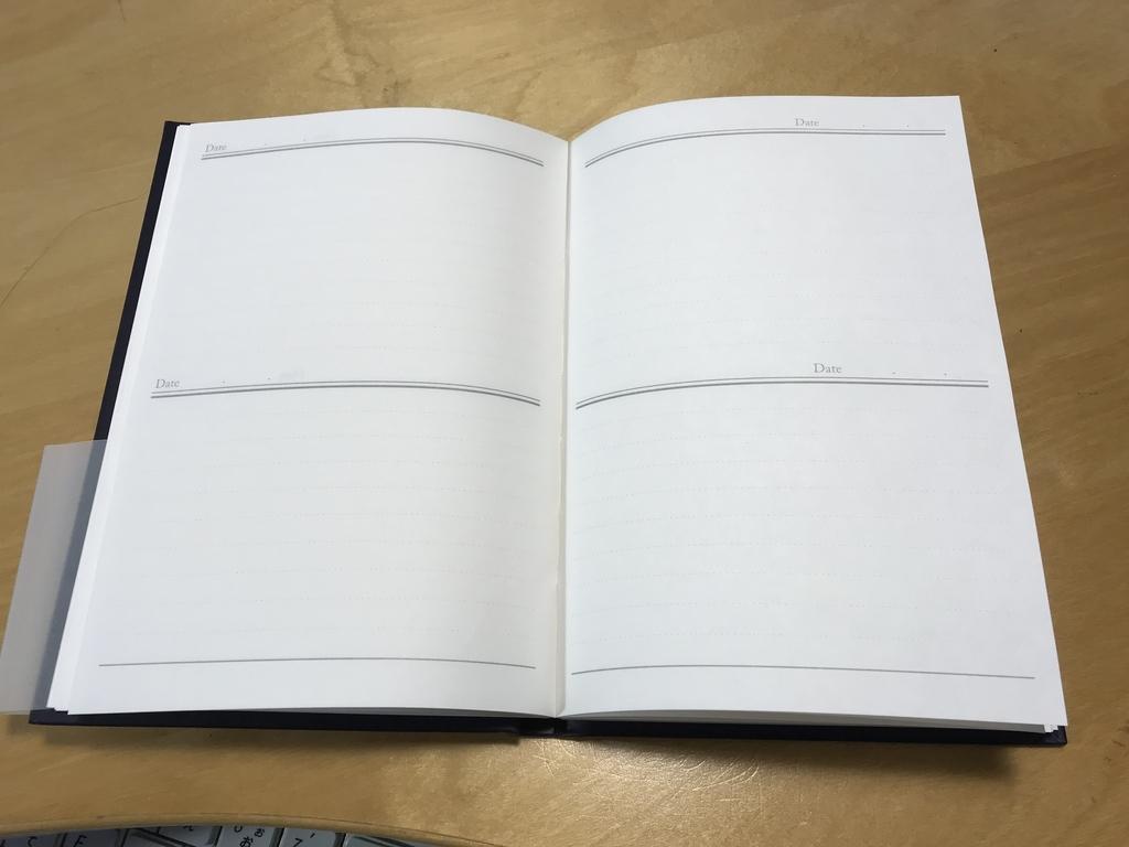Diary Bookの見開きページ
