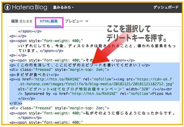 HTML編集画面の該当部分