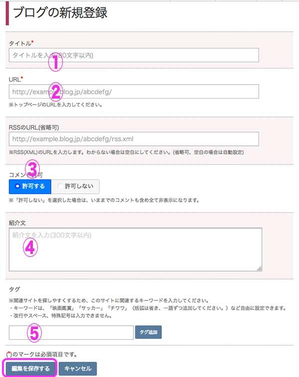 ブログの新規登録画面
