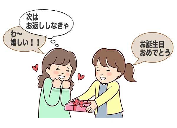 誕生日プレゼントをもらって喜ぶ女性