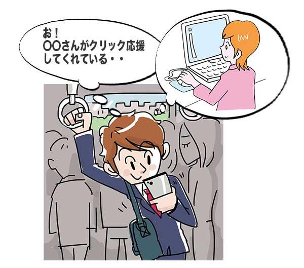通勤電車内でクリック応援に気づいた男性