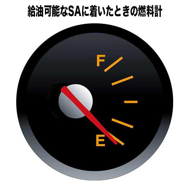 ガソリンスタンドへたどり着いたときの燃料計