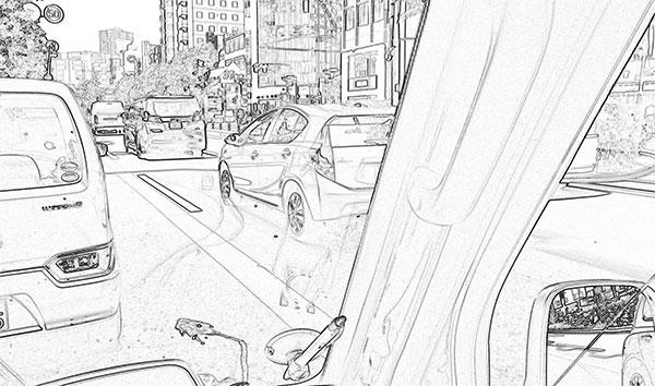 街の道路を撮影