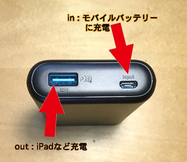 モバイルバッテリーのin端子とout端子