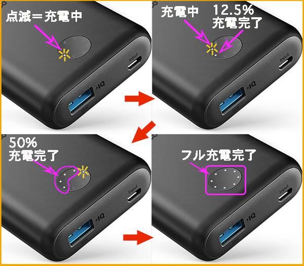 PowerCore2 10000の充電インジケーター